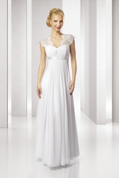 4696a4325734 SLL435 Splývavé svatební šaty i pro těhulky skladem L-XL